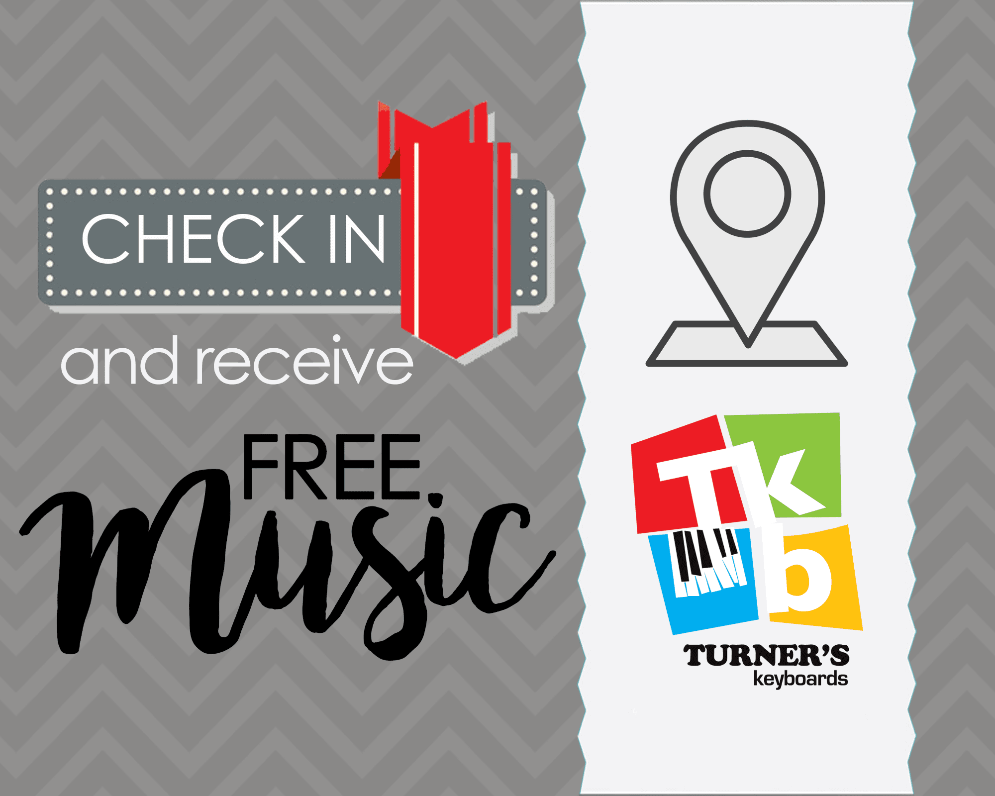 Have You Checked-In for FREE Sheet Music at Turner's Keyboards?